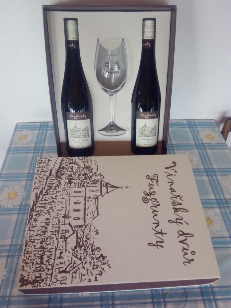 Dárková krabice Fuzgrunty, dvě lahve a sklenička